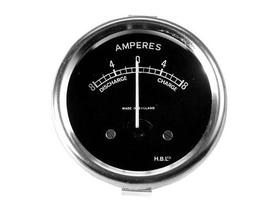 Ammeter - Black Dial with Chrome Bezel 2 inch Diameter. Reading 8-0-8