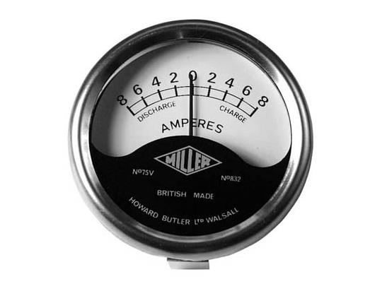 Ammeter - Black&White Dial With Chrome Bezel 2 inch Diameter. Reading 8-0-8