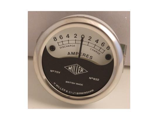 Ammeter - Black&White Dial With Chrome Bezel 2 inch Diameter. Reading 8-0-8