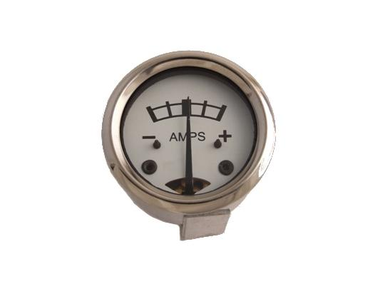 Ammeter - White Dial With Metal Case 1 3/4 inch Diameter. Reading 8-0-8