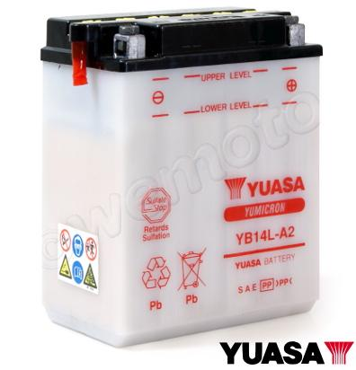 Battery Yuasa YB14L-A2 supplied with acid pack