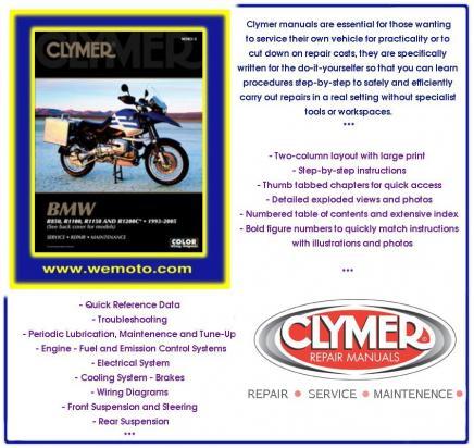 bmw r 1150 rt integral abs 00 04 manual clymer parts at. Black Bedroom Furniture Sets. Home Design Ideas