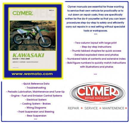 Kawasaki KX 250 K5 98 Manual Clymer Parts at Wemoto - The ... on