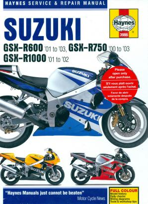 Suzuki GSXR 750 K1 01 Manual Haynes