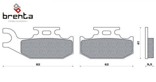 Bombardier/BRP Quest 500 (2x4) (Model Types 7541 / 7542 / 7548 / 7549 / 7585 / 7586 / 7714 / 7726) 02 Brzdové destičky Brenta standard (GG) -  zadní