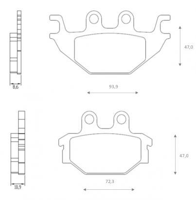 TGB Avenger 400 Quad (4x2) (400cc) 07-08 Plaquettes de Frein Arrière BRENTA (Type GG)