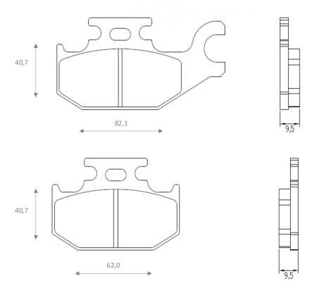 CAN AM Outlander 400 EFI 12 Brake Pads Rear Brenta Sintered (HH Type)
