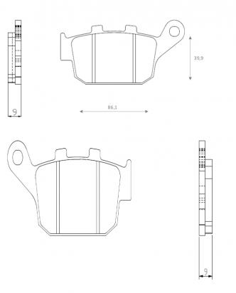 Suzuki SFV 650 L2 Gladius 12 Brake Pads Rear Brenta Sintered (HH Type)
