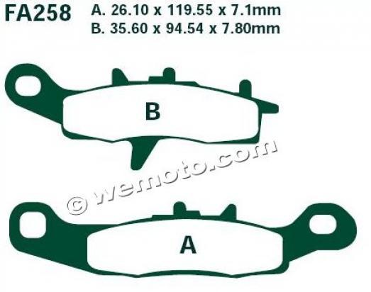 Kawasaki KX 85/85-2 B1-B5 Big Wheel 01-05 Brake Pads Front EBC Standard (GG Type)