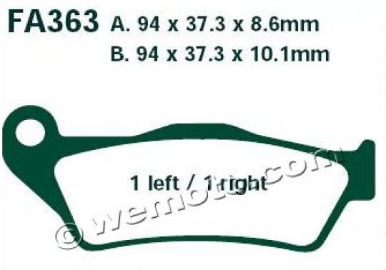 BMW R 1200 R (K27) (41mm Forks) 08-09 Brzdové destičky EBC sintrované (HH) -  zadní