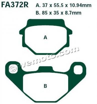 Suzuki LT-A 500 FK3/FK4 Vinson 4WD Auto 03-04 Brake Pads Rear EBC Sintered (GG Type)