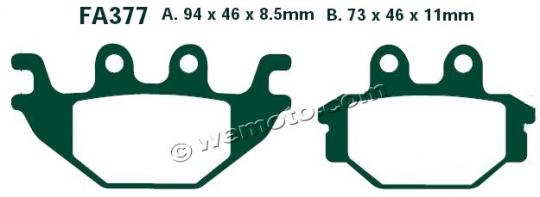 Kawasaki KVF 300 CDF 13 Brake Pads Rear EBC Sintered (GG Type)