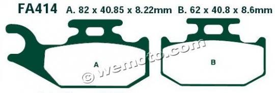 Suzuki LT-F 400 FL0/FL1 King Quad  4WD 10-12 Brake Pads Front Right EBC Standard (GG Type)