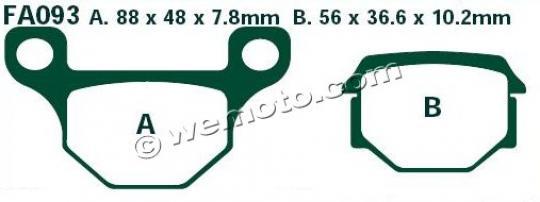 TGB 304 Sport (125cc) 03-08 Plaquettes de Frein Avant EBC Standard (Type GG)
