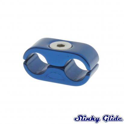 Motorcycle Cable and Hose Tidy / Clamp for 2 Cables - Blue - Slinky Glide