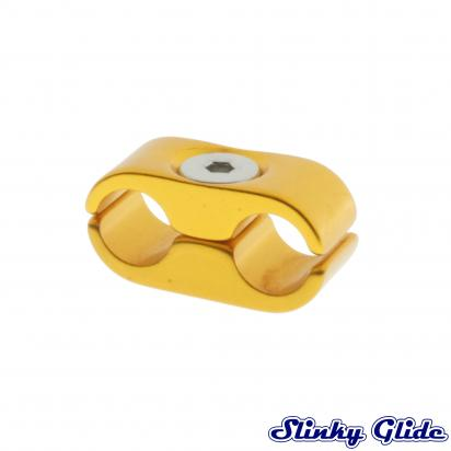 Motorcycle Cable and Hose Tidy / Clamp for 2 Cables - Gold - Slinky Glide