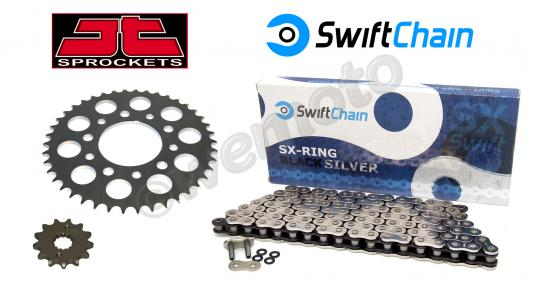Suzuki GSXR 250 CK (GJ72A) 89 Kit Catena Swift Super Heavy Duty  Argento/Nera e Ingranaggi JT