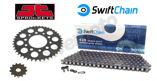 Kawasaki Kaze-R 115 (Greek Market) 04 Swift Super Heavy Duty Chain and JT Sprocket Kit
