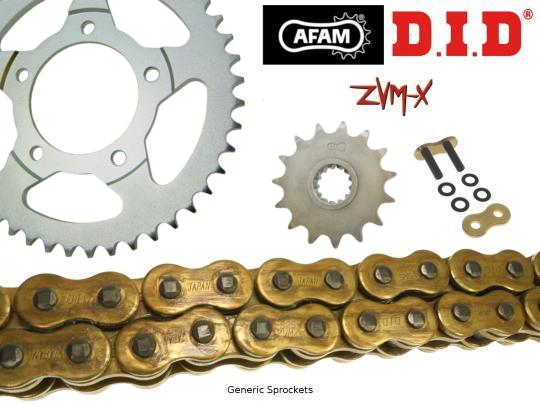 Suzuki GSF 400 K/NK/Z/P/NP Bandit (GK75A) (German Market) 89-94 DID ZVM-X Super Heavy Duty X-Ring Gold Chain and Afam Sprocket Kit