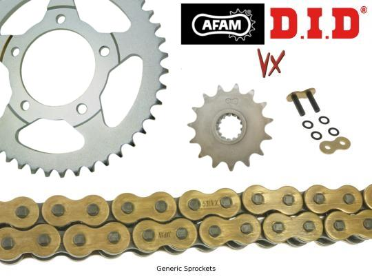 Suzuki GSX 600 F R/S 94-95 DID ZVM-X Super Heavy Duty X-Ring Gold Chain and Afam Sprocket Kit