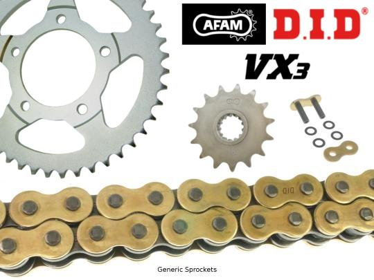 Kawasaki KLR 600 B1-B5 ( KL600 ) 85-90 DID VX3 Heavy Duty X-Ring Gold and Black Chain and Afam Sprocket Kit