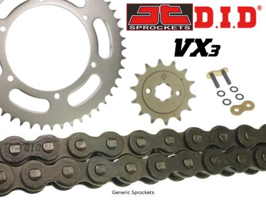 Kawasaki Z 800 A (ZR800) 14 DID VX3 Heavy Duty X-Ring Chain and JT Sprocket Kit