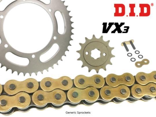 Suzuki RM-X 450 ZL1 11 DID VX3 Heavy Duty X-Ring Gold and Black Chain and Pattern Sprocket Kit