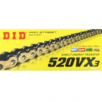 Suzuki SFV 650 L2 Gladius 12 Chain DID VX3 X-Ring Premium Gold & Black