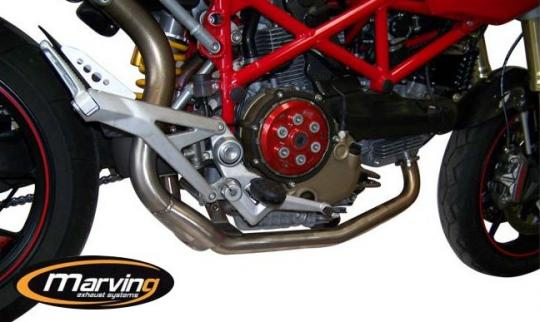Marving Ducati Hypermotard 1100/1100s Downpipes & Collector - SUPERLINE Oval- Stainless Steel