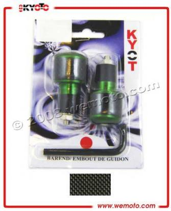 Universal Handlebar End Weights - 17.5 mm - Green / Black Carbon Look