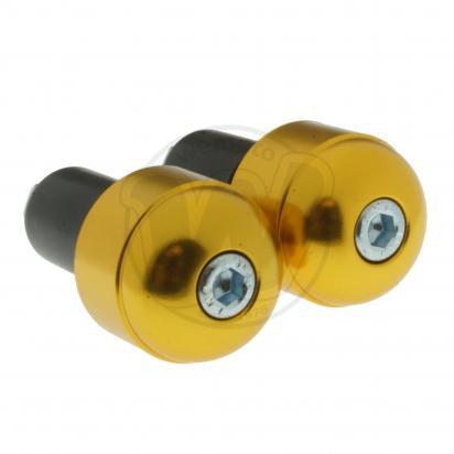 Motorcycle Universal Handlebar End Weights - Smooth Style - 17.5 mm - Gold