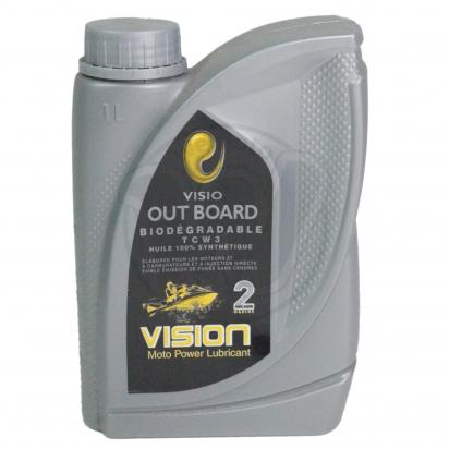 Vision Out Board TCW 3 Biodegradable 100% Synthetic - For 2 Stroke Out Board Motors - 1 Litre