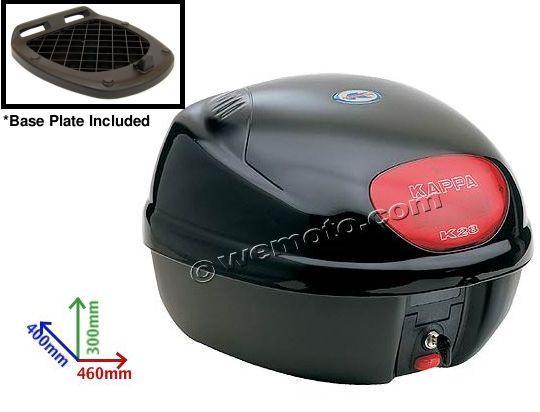 Top Box - Kappa Top Case - Black 28 Litre Capacity - Includes Base Plate