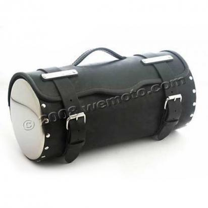 Tool Roll Leather - with chrome cover - Length 45cms  Diameter 21cms