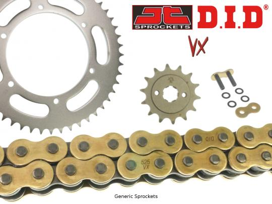 Suzuki GSXR 400 R3 (GK71F) 86 DID VX Heavy Duty X-Ring Gold and Black Chain and JT Sprocket Kit