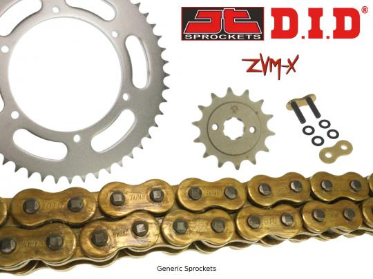 Suzuki GSX 650 FAL2 12-13 DID ZVM-X Super Heavy Duty X-Ring Gold Chain and JT Sprocket Kit