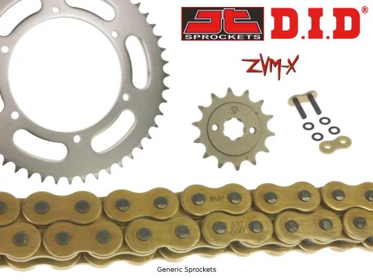 Suzuki GSX 750 ESE 84-85 Kit Cadena DID ZVM-X Super Heavy Duty X-Ring Oro y Coronas Dentadas JT