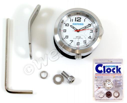 Oxford Clock - Essential Motorcycle and ATV Clock - Silver Case + White Face