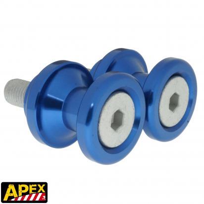 Motorcycle Swingarm Paddock Stand Spools / Bobbins M10 x 1.25 - Blue - Apex