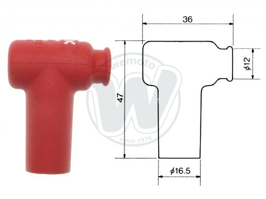 Honda CR 80 R2F 85 Spark Plug Cap NGK 90 degree Red