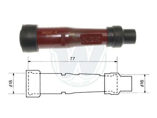 Spark Plug Cap NGK SB05F Straight For 14mm Plug Minimum  Red