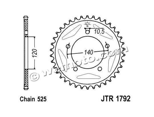 Suzuki DL 1000 K4 V-Strom 04 Sprocket Rear Less 2 Teeth - JT (Check Chain Length)