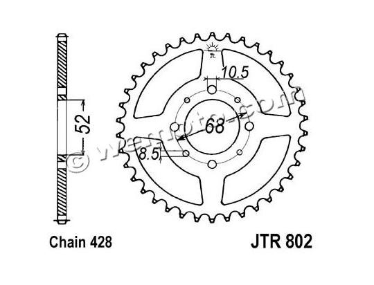 Suzuki TS 80 ER X/Z (French Market) 81-82 Sprocket Rear Less 1 Tooth - Pattern (Check Chain Length)