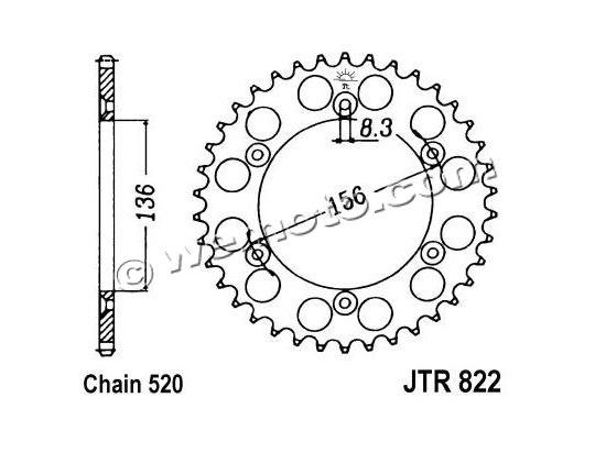 Cagiva 250. Cagiva WMX 250 89-92 Sprocket Rear - Steel - Plus 3 Teeth