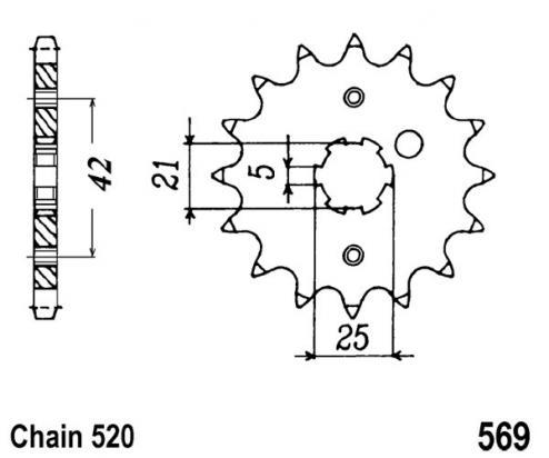 Kawasaki KL 250 C2 84 Pignone 2 denti in più (Controllare Lunghezza Catena)