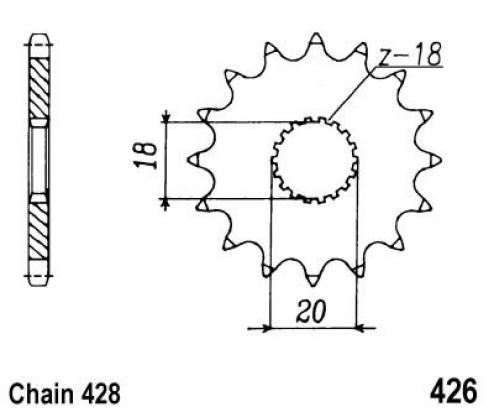 Sinnis Trackstar 125 (QM125GY-2D) 12 Corona Dentada (Piñon) Delantero menos 1 diente - JT (comprobar longitud)