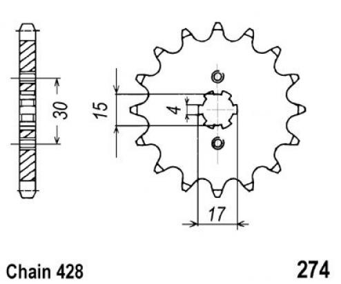 Honda H 100 SD 83-85 Sprocket Front Less 1 Tooth - JT (Check Chain Length)