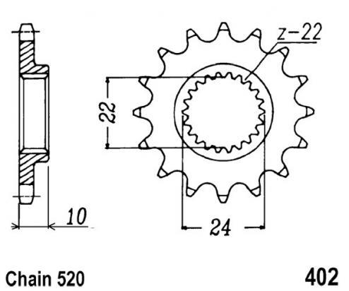 CCM 604E  (Rotax Engine) 94-00 Přední kolečko JT - menší o 2 zuby