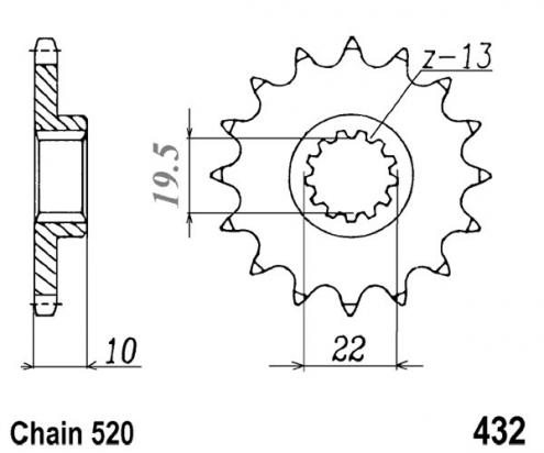 Suzuki RM 250 P 93 Corona Dentada (Piñon) Delantero menos 1 diente - JT (comprobar longitud)