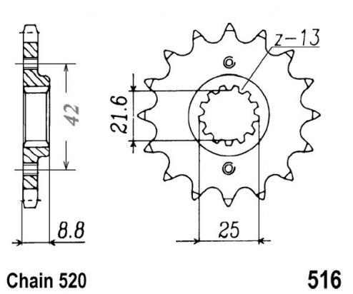 Kawasaki KLR 600 B1-B5 ( KL600 ) 85-90 Sprocket Front Less 1 Tooth - JT (Check Chain Length)